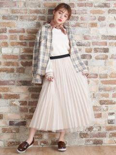 チュール×プリーツセットスカート