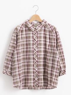 バックレースアップチェックシャツ