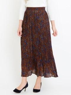 リーフプリントプリーツロングスカート