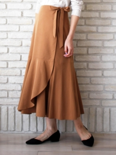 フレアヘムラップロングスカート