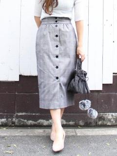 グレンチェックフロントボタンタイトスカート