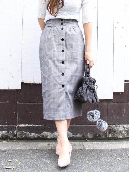 65%OFF le. coeur blanc (ルクールブラン) グレンチェックフロントボタンタイトスカート ブラック柄