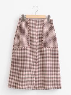 フリンジポケットチェックタイトスカート