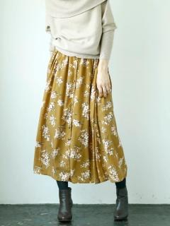 ミドルフラワーフロントボタンロングスカート