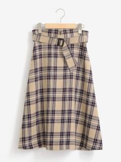 タータンチェックフレアスカート