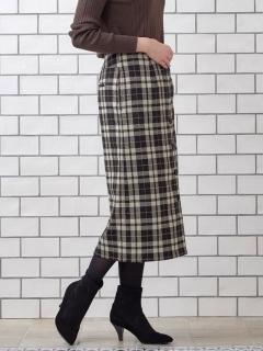 ウールチェックミディータイトスカート