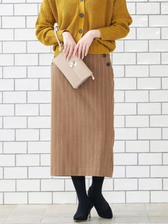 ストライプサイドボタンタイトスカート