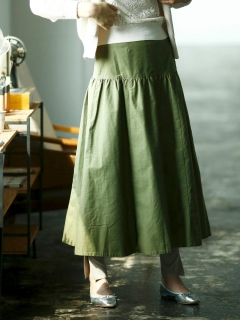 モールスキンティアードロングスカート