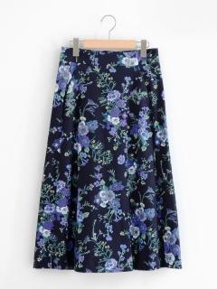ボタニカルフラワープリントトラペーズスカート