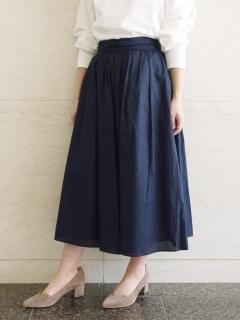 リップルストライプタックギャザースカート