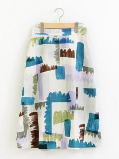 ペイントプリントトラペーズスカート