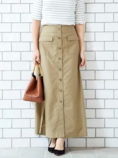 ビンテージバックサテンフロントボタンスカート