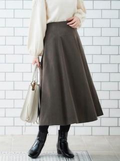 スエードタッチフレアースカート