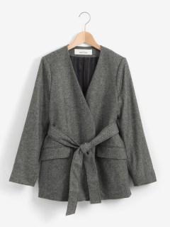 ノーカラーウエストマークジャケット