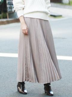 ピーチサテンアコーディオンプリーツスカート