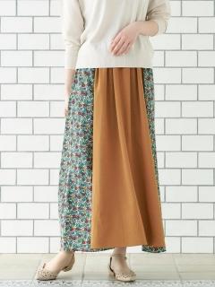 フラワープリントパッチワークロングスカート