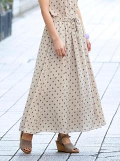 小紋プリントロングフレアースカート