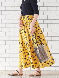 Deveauxコットンフラワープリントギャザースカート