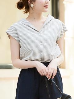 ストライプショールカラーフレンチシャツ