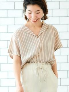 オープンカラーワイドスリーブシャツ