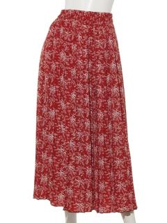 単色花柄プリーツスカート