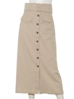 #折返しフロント釦ロングタイトスカート