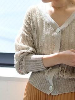 麻混柄編みショートカーディガン