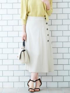 サイドボタンツイルフレアースカート
