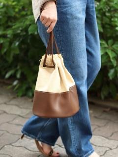 雑材コンビ巾着バッグ