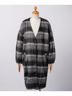シャギーチェック柄ボリューム袖コート