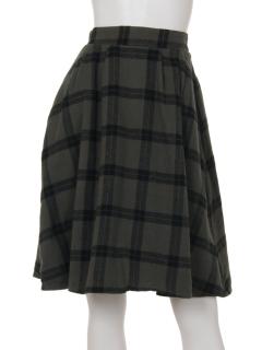無地×チェック柄リバーシブルスカート