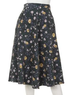 コーデュロイ花柄スカート