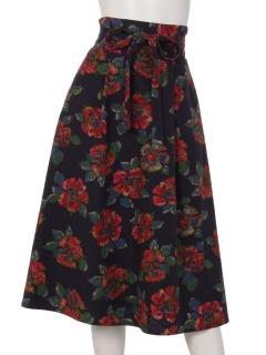 起毛花柄フレアースカート
