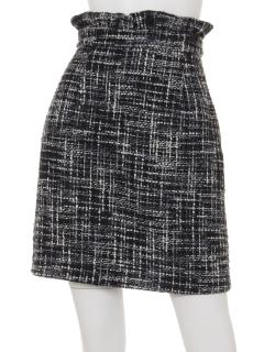 ウエストフリルツイード台形スカート