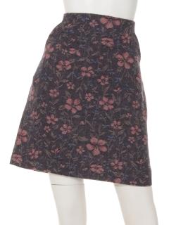 ジャカードフラワー台形ミニスカート