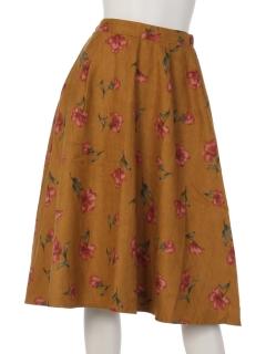 中花柄フレアスカート