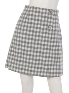 ギンガムチェックラップ風スカート