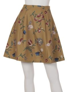 花柄フェイクウール台形スカート