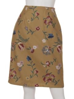 花柄フェイクウールタイトスカート