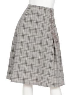 レースアップチェック柄スカート