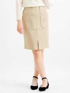 刺繍入りIラインスカート
