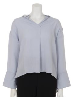 スキッパー衿抜きシャツ