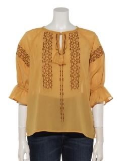 楊柳ステッチ刺繍袖口フレアブラウス
