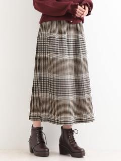 チェックマキシプリーツスカート