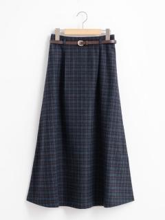 合皮ベルト付チェックロングスカート