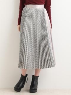 プリーツ×サテンロングスカート