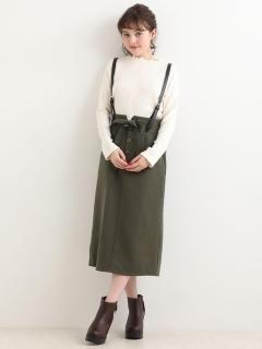 合皮サス付Iラインスカート