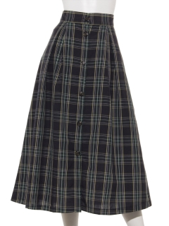 タータンチェックフロント釦ロングスカート