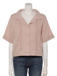 カラミ刺繍開襟シャツ