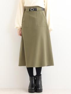 ベルト付ロングAラインスカート
